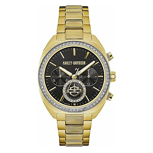 Harley-Davidson Women's Crystal Six-Hand Chronograph Watch, Gold-Tone 77M103 ()