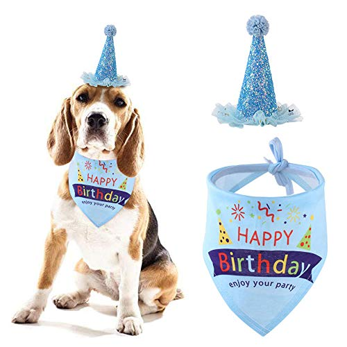 ASOCEA Dog Birthday Bandana with Hat Pet Birthday Set Adjustable Party Cone Hat Triangle Scarf Headwear Caps for Small Dogs Puppy (Blue)