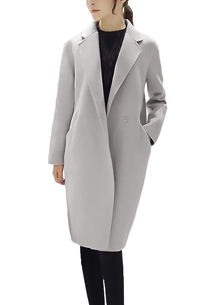 Mujer Parkas Largas Elegante Invierno Otoño Abrigos De Paño Niña Manga Larga Joven Bastante Cuello De