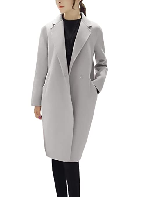 Mujer Parkas Largas Elegante Invierno Otoño Abrigos De Paño Basic Niña Manga Larga Cuello De Solapa Bolsillo Coat Color Sólido Moda Slim Fit Termico ...