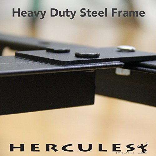 Hercules Universal Heavy Duty Adjustable Metal Bed Frame with Double Rail Center...