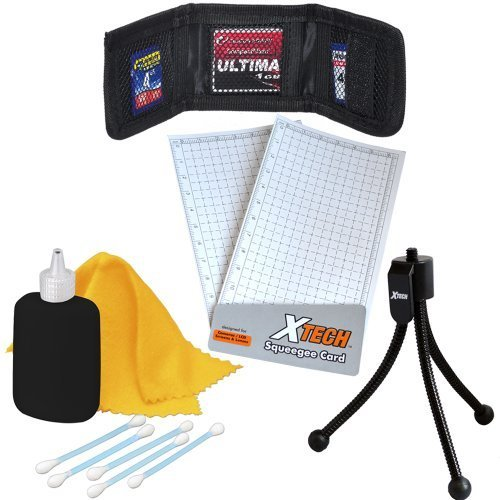 - Xtech 7pc Digital Camera Starter Accessory Kit, Includes; Mini Tabletop Tripods, Memory Card Wallet, Lens Cleaning Fluid, Cleaning Cloth, Universal Screen Protectors with Squeegee Card, & 5 Cotton Swabs