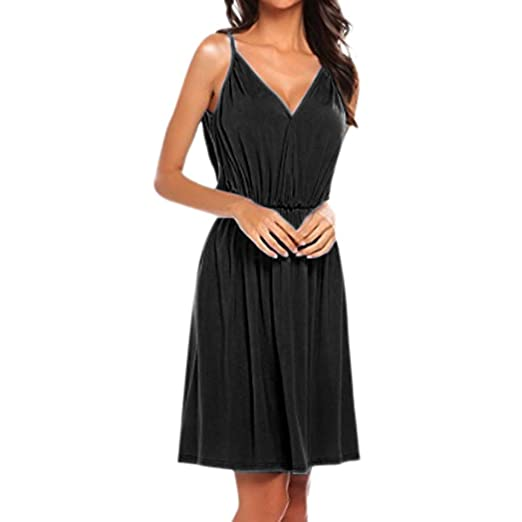 80e9046a677a6 Dresses for Women Solid V Neck Sleeveless Empire Waist Pleated Loose Swing  Casual Midi Dress (