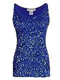 Anna-Kaci Womens Sparkle & Shine Glitter Sequin Embellished Sleeveless Round Neck Tank Top, Blue, Medium