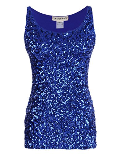 Anna-Kaci Womens Sparkle & Shine Glitter Sequin Embellished Sleeveless Round Neck Tank Top, Blue, XX-Large