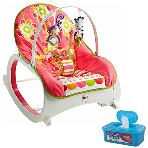 Fisher Price Infant-To-Toddler Rocker, Floral Confetti Plus BONUS Hypoallergenic, Unscented Baby Wipes, 128 Count (Fisher Price Apptivity Gym)