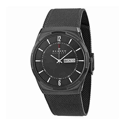 Skagen Men's Melbye Quartz Titanium and Stainless Steel Mesh Casual Watch, Color: Black (Model: (Plated Titanium Mesh)