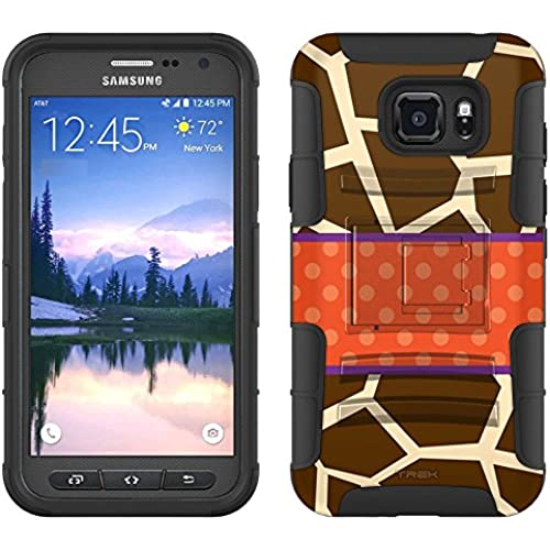 Samsung Galaxy S7 Active Armor Hybrid Case Giraffe Print with Orange Ribon 2 Piece Case with Holster for Samsung Sales