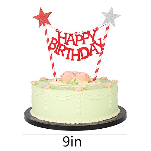 Party Cake Decoration Supplie LXZS-BH LVEUD Panda and Rabbit Decoration Mini Happy Birthday Cake Topper Banner Black