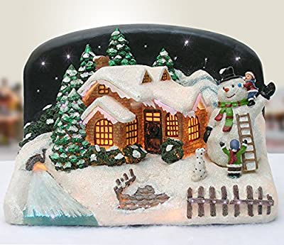 BANBERRY DESIGNS Christmas Snow Village Fiber Optic House Cabin Collectible with Snowman and Children