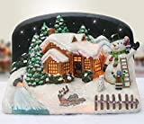 Christmas Snow Village Fiber Optic House Cabin Collectible with Snowman and Children