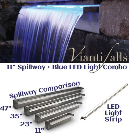 11'' Waterfall Spillway Stainless Steel 2'' Lip and LED Light Strip Combo Cool Blue
