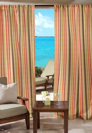RSH Décor Sunbrella Indoor/Outdoor Curtain Drapery Panel with Rod-Pocket (Sunbrella Solano Fiesta - Tan/Beige, Coral Orange, Olive Green & Brown Stripe, 50'' W x 84'' L) by RSH Décor (Image #2)