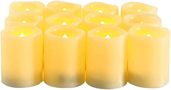 Holy Pet Flameless LED Battery Votive Candles – Realistic Flickering Battery Operated Powered VotivesBright Electronic Electric Candles with Timer 1.5 x2 Long Lasting Batteries Included12-pack
