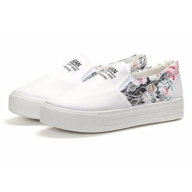 Women s Flower Designed Lace-up Vulcanize Sneaker Slip On Canvas Tennis  Shoes (Women s 5.5 c7b19fea4e