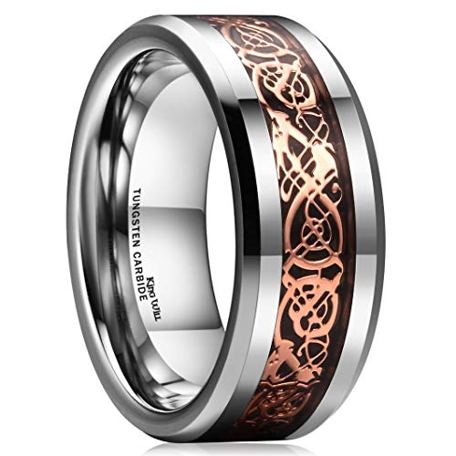 - King Will Dragon 8mm Rose Gold Plated Celtic Dragon Tungsten Carbide Wedding Band Ring Comfort Fit 7.5