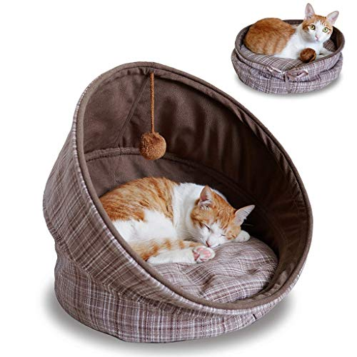 PLDDY Pet Bed,Washable Folding Cat Sleeping Bags Round Pet Nest for Cats and Small Dogs with Soft Cushion Hanging Bell Toy Ball, Gift for Christmas New Year, Brown (18 inch)