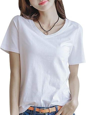 Camiseta de Manga Corta con Cuello en V Blanca de Verano para Mujer Camiseta Suelta con Camisa de algodón con Camiseta de Fondo: Amazon.es: Ropa y accesorios