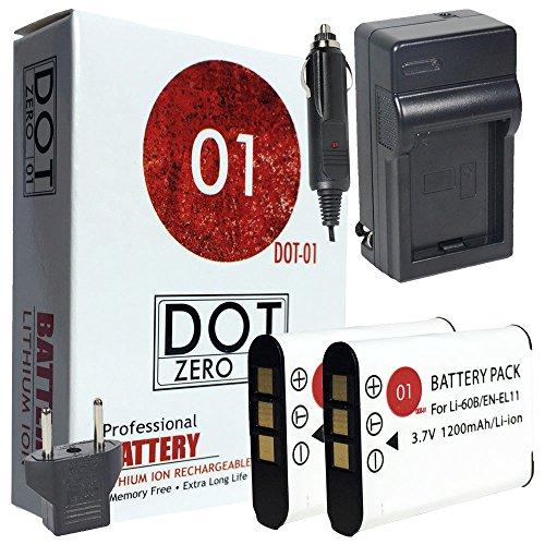 Bundle 60b (DOT-01 2x Brand 1200 mAh Replacement Olympus LI-60B Batteries and Charger for Olympus FE-370 Digital Camera and Olympus LI60B)