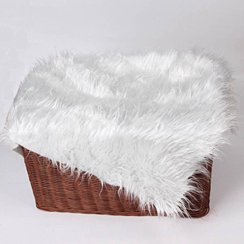Newborn Baby Blanket Photography Props, Staron Kids Infant Boy Girl Faux Fur Stuffe Background Photo Soft Blanket Wrap Rug, 19.7x19.7