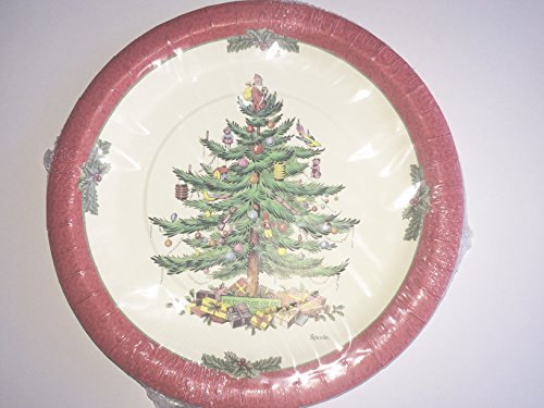 Spode Christmas Tree Red Border Paper Dinner Plates 16 Count