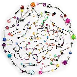 Lot 110 PCS Body Jewelry Piercing Eyebrow Navel Belly Tongue Lip Bar Ring 22 Styles
