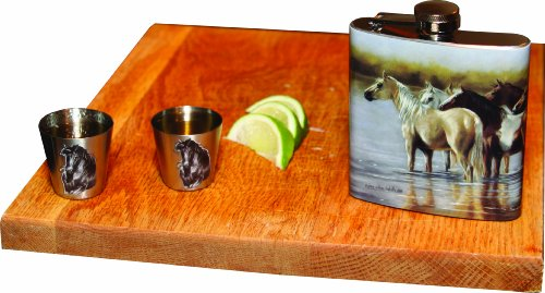Rivers-Edge-Horses-Design-Stainless-Steel-Flask-with-Loading-Funnel-and-Shot-Glass