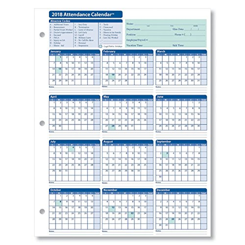25 Pack Calendar (ComplyRight 2018 Attendance Calendar Card, White, Pack of 25)