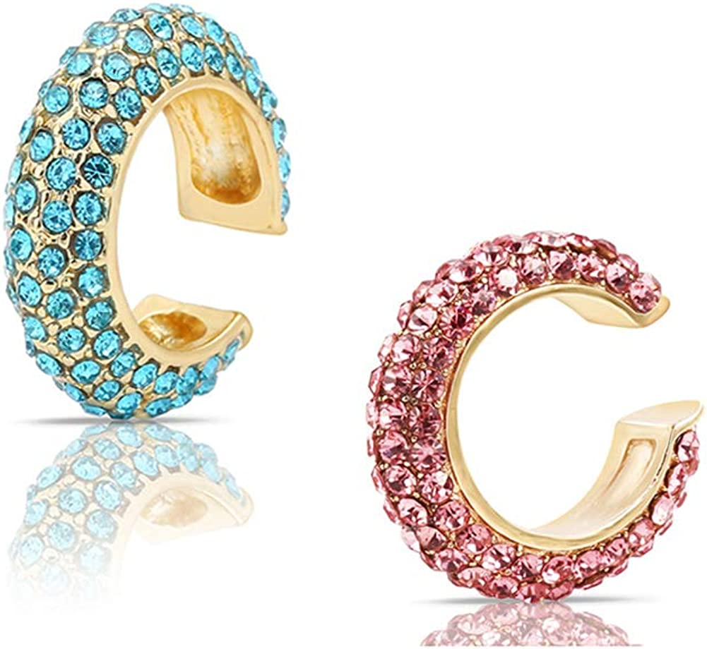 CZ Ear Cuffs Sets, DORAFO Women Girls Sparkly Colorful Rhinestones Large Cuff Earrings Cartilage Conch Earrings for Non Pierced Hypoallergenic Earrings