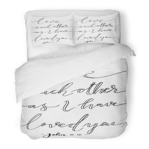 SanChic Duvet Cover Set Love Each Other As I Have Loved You Lettering Bible Verse Modern Calligraphy Christian Decorative Bedding Set with 2 Pillow Shams Full/Queen Size by SanChic