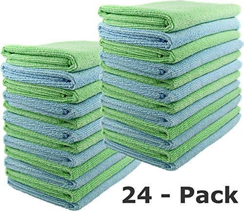 SecurOMax Microfiber Cleaning Cloth Towels (24 Pack) for Streak & Lint Free Household Cleaning, Dusting, Washing & Wiping - Large Size 15x15 Inches - 12 Blue + 12 Green (300 GSM)