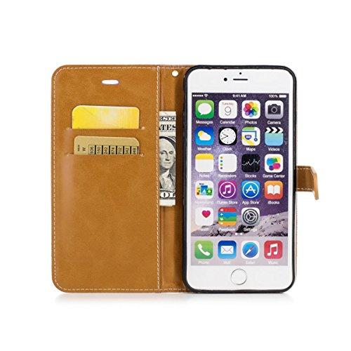 iPhone 6 Plus / iphone 6S Plus Funda Azul marino, MEETER Libro PU Cuero Case Con Flip case cover, Cierre Magnético, Función de Soporte, Tarjeta y efectivo titular, Billetera con Tapa para iPhone 6 Plu Púrpura