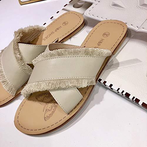 Ouvert Yiwuhu et Sauvage Ouvertes Chaussures des avec Abricot Bout Taille Tongs Plates Pantoufles Couleur à EU 38 2 Sandales de 3 Abricot OXXrqI