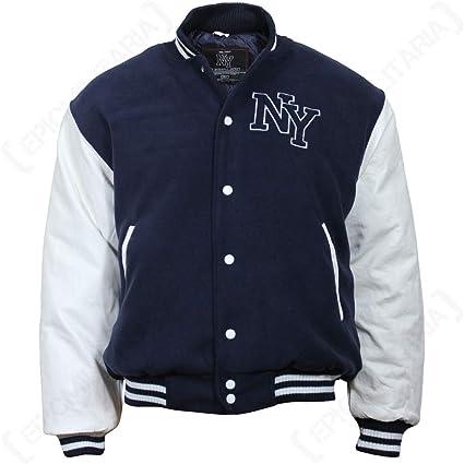 TALLA M. NY Chaqueta de Béisbol M. Patch, color Azul Marino/Blanco