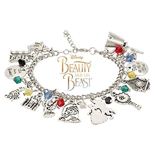 Princess Belle Bracelet For Girls - Disney Beauty and The Beast Charm Bracelet -