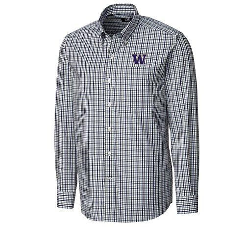 Cutter & Buck NCAA Washington Huskies Men's Long Sleeve Gilman Plaid Shirt, Large, College Purple