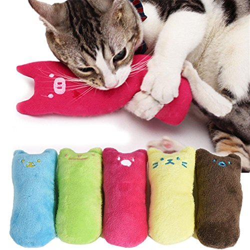D-World4Pet Catnip Toys - Cute Pillow Scratch Crazy Cat Kicker Catnip Toy Teeth Grinding -