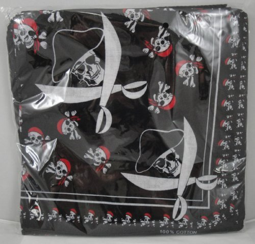 12 Pirate Cotton Bandannas 20'' x 22''