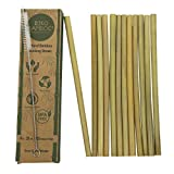 Natural Bamboo Drinking Straws 12 pcs | 8-inch Eco-friendly Sustainable Reusable Washable Straws | Biodegradable Alternative to Plastics, Stainless Steel & Glass | Straw Cleaner Included | BIKO BAMBOO
