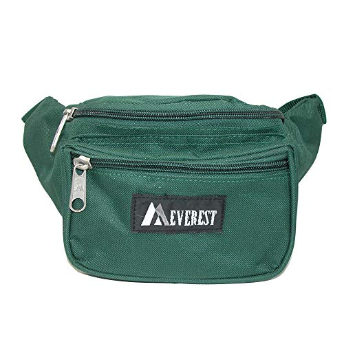 Everest Fabric Multi Pocket Fanny Waist Pack, Forest Green (Pack Fabric Fanny)