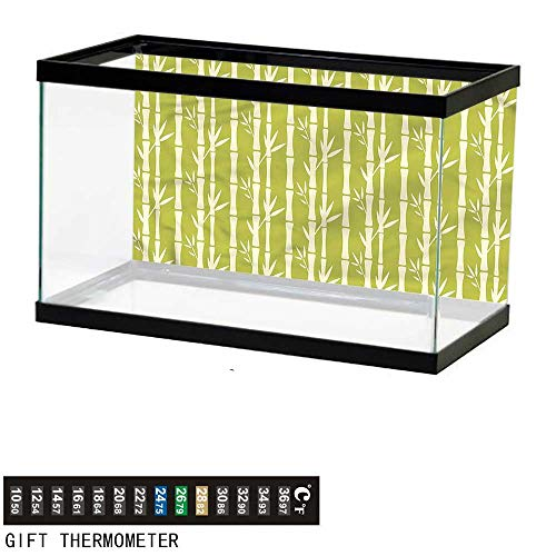 - bybyhome Fish Tank Backdrop Bamboo,Abstract Stems with Leaves,Aquarium Background,48