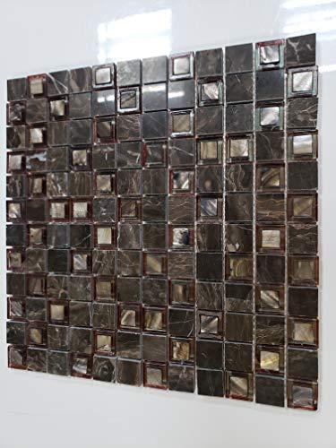 (Premium Mini Square Iridescent Roman Mosaic Marble Tile for Kitchen | Bathroom Backsplash Polished | Easy to Install 12