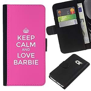 BearCase / Cuero de la tarjeta la carpeta del tirón Smartphone Slots Protección Holder /// Samsung Galaxy S6 EDGE /// La calma y Rosa motivación divertido