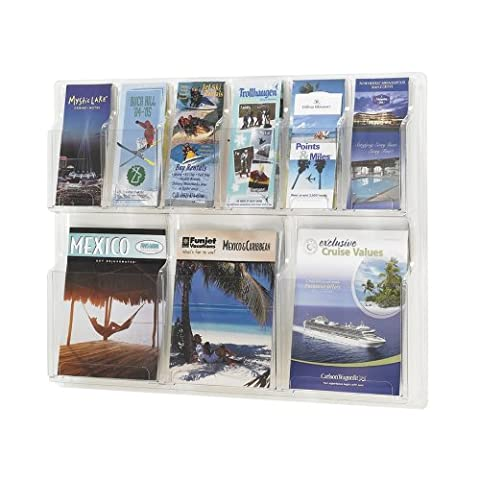 Safco Products 5605CL Reveal Literature Display, 3 Magazine and 6 Pamphlet, Clear - Pocket Literature Floor Display