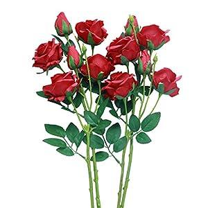 MARLLES Artificial Silk Pink Rose Flowers Bouquet Prefect Brithady Home Wedding Centerpieces Arrangements Decor (Red) 7