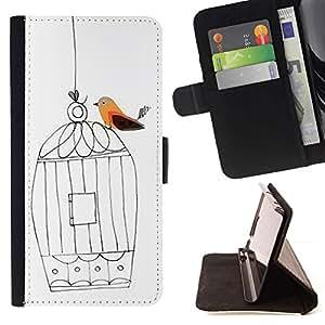 For HTC Desire 820 Case , Jaula Libertad Blanca artístico Profundo- la tarjeta de Crédito Slots PU Funda de cuero Monedero caso cubierta de piel