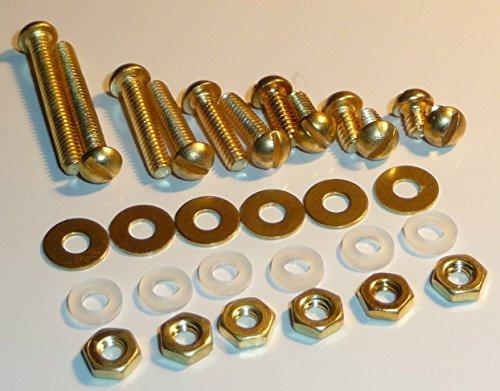 Solid BRASS/NYLON Non-Magnetic Turntable Headshell Cartridge Screw Set 30 -