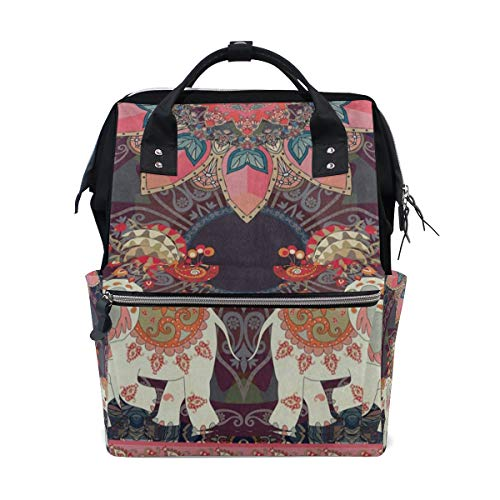 Diaper Bags Colorful Indian Mandala Elephant Fashion Mummy Backpack Multi Functions Large Capacity Nappy Bag Nursing Bag for Baby Care for Traveling