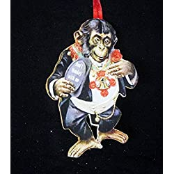 Monkey Valentine Royal Chimp Handcrafted Wood Ornament, Animal Lover Gift, Antique Postcard, Magnet, Dressed Animals, Boyfriend Girlfriend