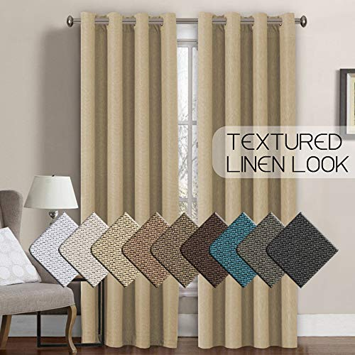 (Linen Curtains 84 Thermal Insulated Energy Efficient Curtains Textured Linen Like Curtain Panels for Bedroom/Living Room Natural Feeling Grommet Window Treatment Drapes,52 by 84 Inch-Beige (1 Panel))